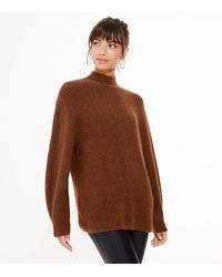 New Look - Rust Ribbed Knit High Neck Long Jumper - Lyst