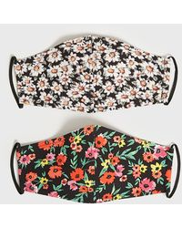 New Look 2 Pack Black Floral Reusable Face Covering