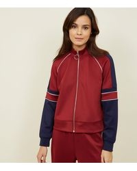New Look Burgundy Piped Stripe High Shine Jacket - Red
