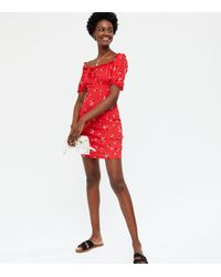 New Look Red Floral Tie Front Bardot Mini Dress