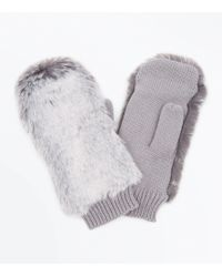 New Look Grey Faux Fur Top Knitted Mittens