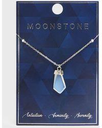 New Look Silver Semi Precious Moonstone Pendant Necklace - Metallic
