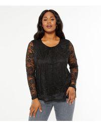 Mela Curves Black Lace Long Sleeve Top