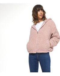 New Look Pale Pink Hooded Teddy Jacket