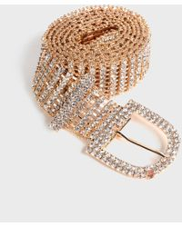 New Look Gold Diamanté Embellished Chain Belt - Metallic