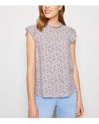 New Look Blue Floral Frill Trim Sleeveless Blouse