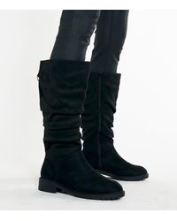 New Look Wide Fit Black Suedette Slouch Knee High Boots