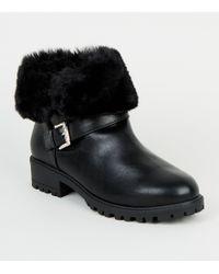 5257308b95f Girls Black Teddy Faux Fur Cuff Ankle Boots