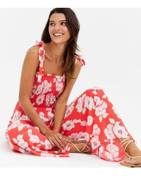 New Look Red Floral Square Neck Wide Leg Jumpsuit