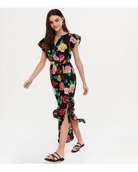 Mela Black Floral Split Hem Wrap Maxi Dress