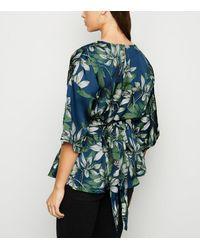 Mela Blue Floral Satin Wrap Blouse New Look