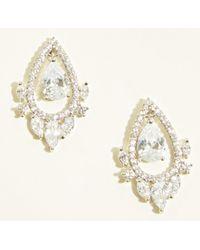 New Look - Silver Cubic Zirconia Floating Teardrop Stud Earrings - Lyst