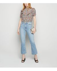 New Look Blue High Rise Crop Kick Flare Jeans