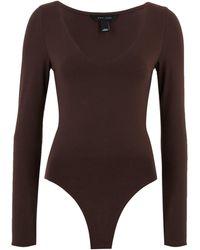 New Look Dark Brown V Neck Long Sleeve Bodysuit