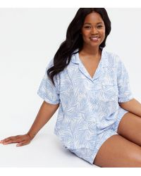 New Look Curves Blue Palm Print Revere Collar Short Pyjama Set