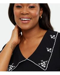 New Look Curves Embroidered Collar Top - Black