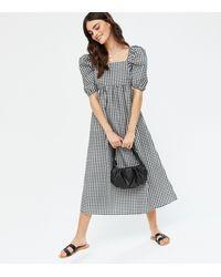 New Look - Black Gingham Poplin Square Neck Midi Dress - Lyst