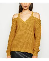 New Look Mustard Waffle Knit Cold Shoulder Jumper - Yellow