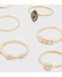 New Look 8 Pack Gold Mixed Gem Stacking Rings - Metallic