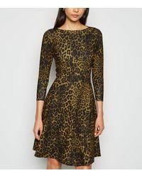 Missfiga - Brown Leopard Print Skater Dress - Lyst