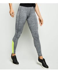 4cdeb3502a17a New Look - Light Grey Marl Mesh Colour Block Sports Leggings - Lyst