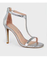 fe7165034df New Look Silver Chunky Crystal Embellished T Bar Heels in Metallic ...