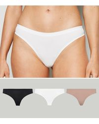 New Look 3 Pack Multicoloured Seamless Thongs - White