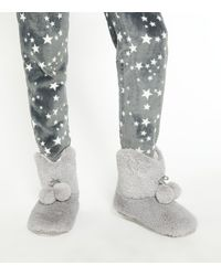 New Look Grey Faux Fur Pom Pom Boot Slippers