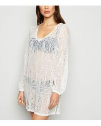 New Look Off White Lace Crochet Beach Kaftan