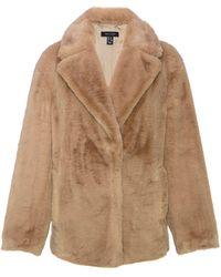 New Look Camel Faux Fur Coat - Natural