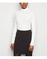 New Look Black Pinstripe Mini Tube Skirt