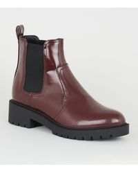 New Look Wide Fit Dark Red Patent Chelsea Boots