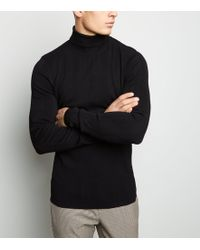 New Look - Black Ribbed Stripe Roll Neck Jumper - Lyst