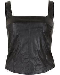 New Look Black Leather-look Corset Seam Top