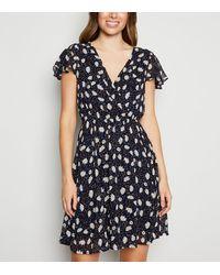 Mela Blue Floral Ruffle Sleeve Wrap Dress
