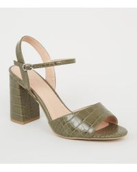 27eff3fa0356 River Island Khaki Crossover Wide Fit Block Heel Sandals - Lyst