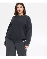 New Look - Curves Dark Grey Acid Wash Sweatshirt - Lyst