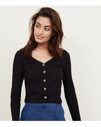 New Look - Black V Neck Cropped Cardigan - Lyst