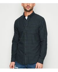 New Look Dark Green Check Cotton Shirt