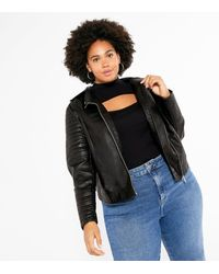 New Look Curves Leather-look Quilted Biker Jacket - Black
