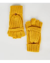 New Look Yellow Knitted Flip Top Gloves