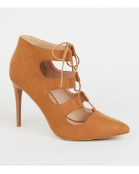 b1efdf2b9e04 New Look - Tan Suedette Lace-up Ghillie Stiletto Heels - Lyst