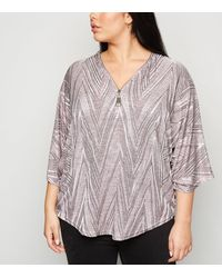 Apricot Curves Pink Chevron Zip Top