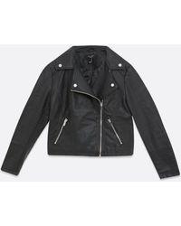 New Look Petite Leather-look Biker Jacket - Black