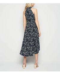 Mela Blue Ditsy Floral Dip Hem Dress New Look
