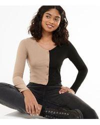 New Look Camel And Black Colour Block Cardigan - Multicolour