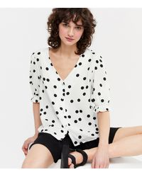 New Look White Spot Button Front Blouse