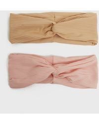 New Look 2 Pack Brown And Pink Ribbed Jersey Twist Headbands