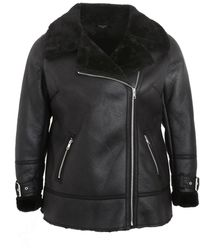New Look Curves Black Leather-look Faux Fur Lined Aviator Jacket