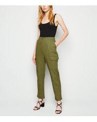 New Look Khaki Twill Utility Trousers - Green